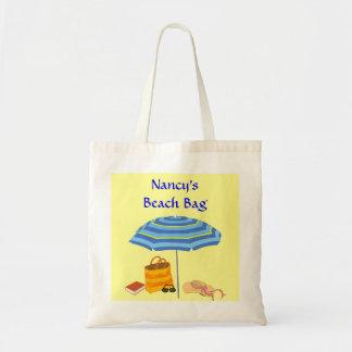 Summer Beach Day Umbrella Sunglasses Custom Name Tote Bag