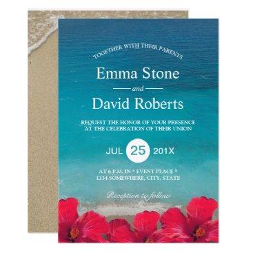 Beach Themed Summer Beach Elegant Tropical Flowers Wedding Card
