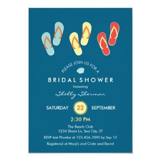 Summer Beach Flip Flops Bridal Shower Invitation