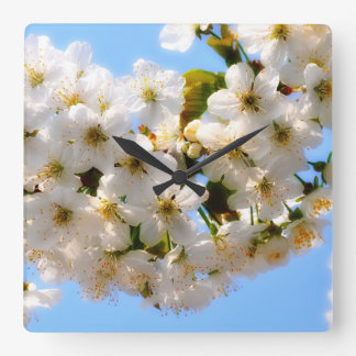 summer beach flower cherry blossom - white blue square wall clock