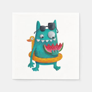Summer Beach Monster Paper Napkin