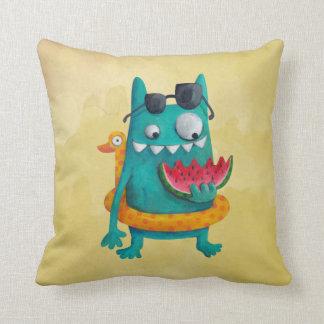 Summer Beach Monster Throw Pillow