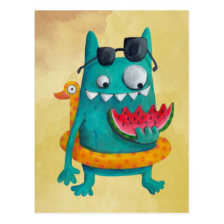 Summer Beach Monster Postcard