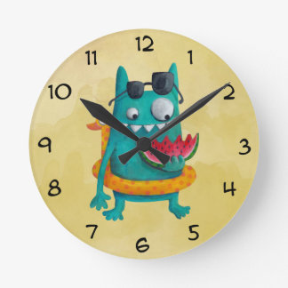 Summer Beach Monster Round Clock