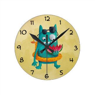 Summer Beach Monster Round Clock