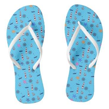 Beach Themed Summer Beach Nautical Blue Pattern Flip Flops