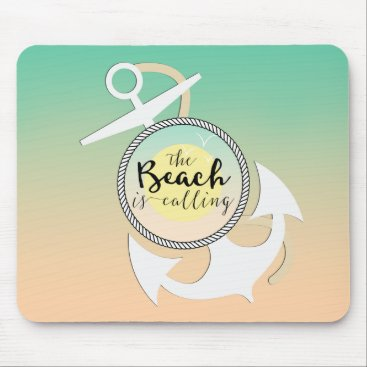 Beach Themed Summer Beach Nautical Typography Mouse Pad