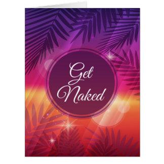 Summer Beach Night Palm Get Naked Card