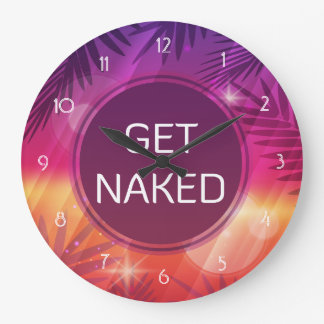 Summer Beach Night Palm Get Naked Large Clock