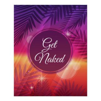 Summer Beach Night Palm Get Naked Poster