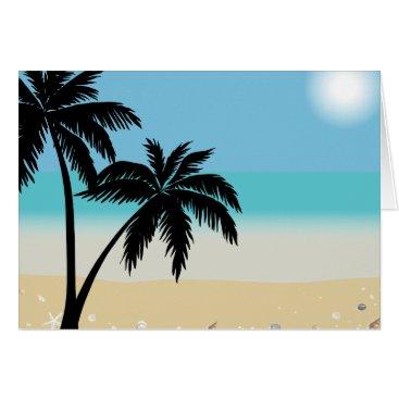 Beach Themed Summer Beach Palm Tree Blank Notecard