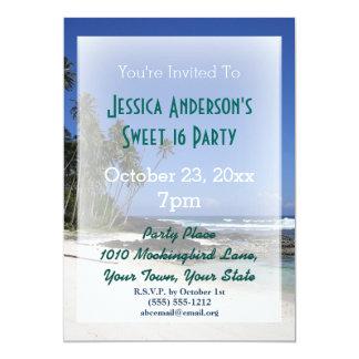 Summer Beach Palm Tree Tropical Sweet 16 Birthday Card