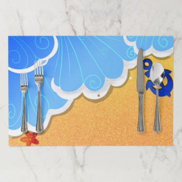 Beach Themed Summer beach paper placemat