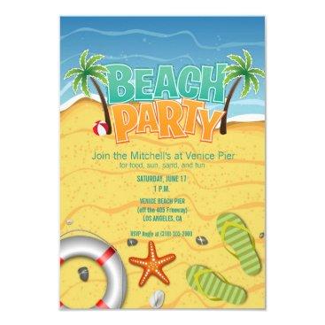 Beach Themed summer beach party invitation