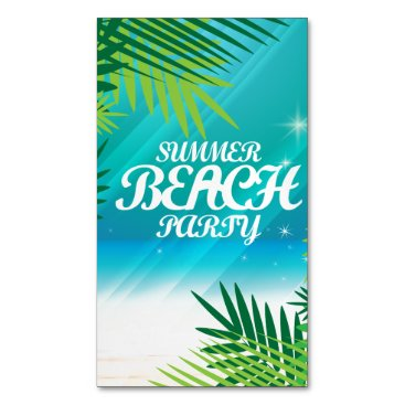 Beach Themed Summer Beach Party Magnetic Business Card
