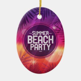 Summer Beach Party Night Ceramic Ornament