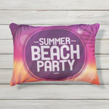 Beach Themed Summer Beach Party Night Outdoor Pillow