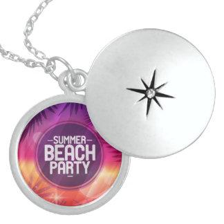 Summer Beach Party Night Round Locket Necklace