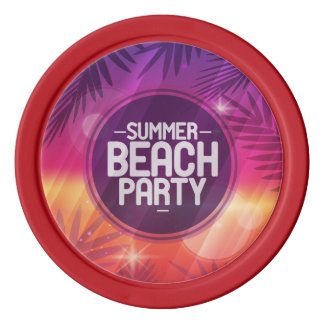 Summer Beach Party Night Set Of Poker Chips