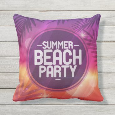 Beach Themed Summer Beach Party Night Throw Pillow