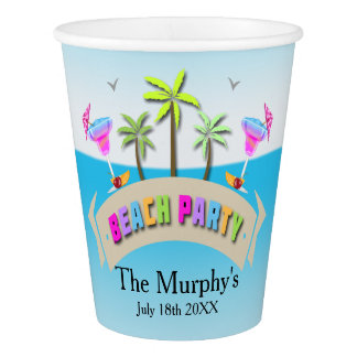 Summer Beach Party Paper Cups