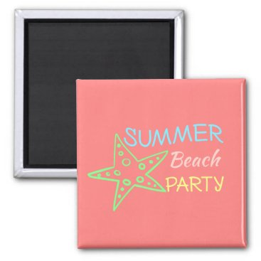 Beach Themed Summer Beach Party Pretty Pastels Magnet