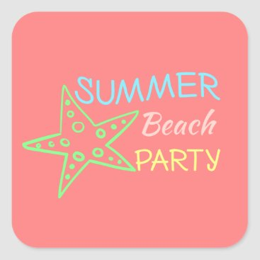Beach Themed Summer Beach Party Pretty Pastels Square Sticker