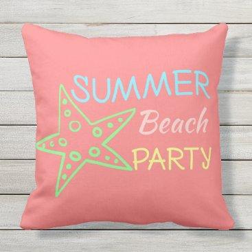 Beach Themed Summer Beach Party Pretty Pastels Throw Pillow
