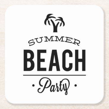 Summer Beach Party Square Paper Coaster
