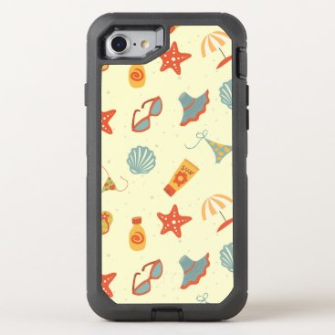 Beach Themed Summer Beach Pattern OtterBox Defender iPhone 7 Case
