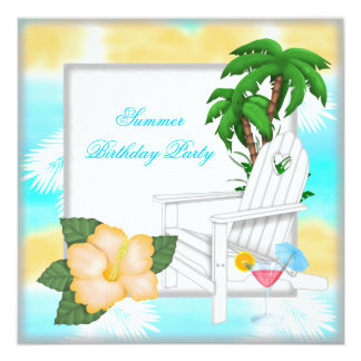 Summer Beach Pool Cocktail Birthday Party Card