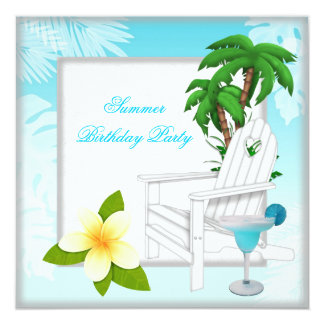 Summer Beach Pool Cocktail Teal Birthday Party Card