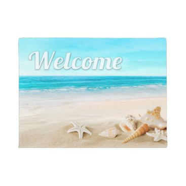 Beach Themed Summer Beach Sea Shell Starfish Welcome Outdoor Doormat