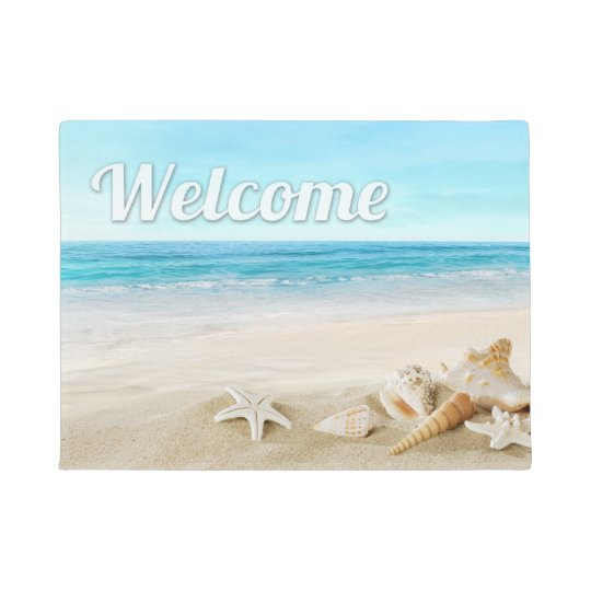 Summer Beach Sea Shell Starfish Welcome Outdoor Doormat