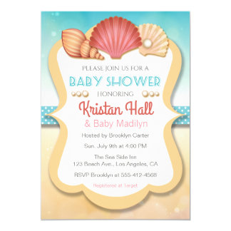Summer Beach Shell Baby Shower Invitation