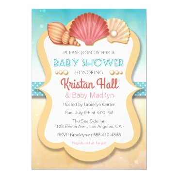 Toddler & Baby themed Summer Beach Shell Baby Shower Invitation