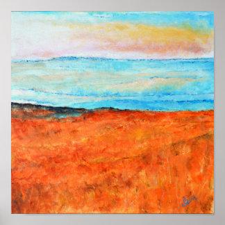Summer Beach Shoreline Painting | Poster