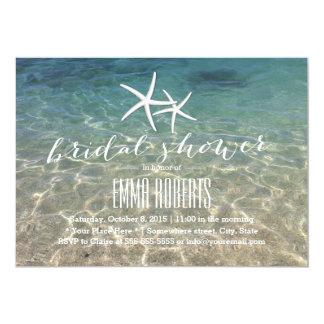 Summer Beach Starfish Bridal Shower 5x7 Paper Invitation Card