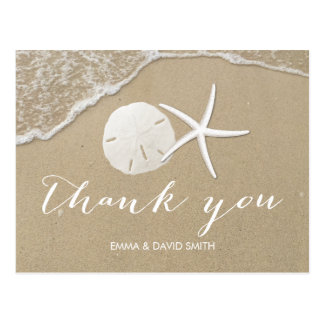 Summer Beach Starfish & Sand Dollar Thank You Postcard