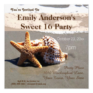 Summer Beach Starfish Seashell Sweet 16 Birthday Card