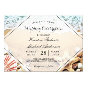 Summer Beach Starfish Seashell Wedding Celebration Card by CardHunter at Zazzle
