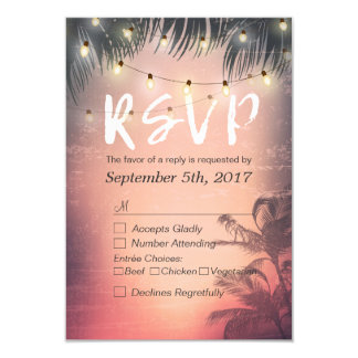 Summer Beach String Lights Chic Wedding RSVP Reply Card