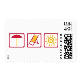 Summer beach sun postage stamps