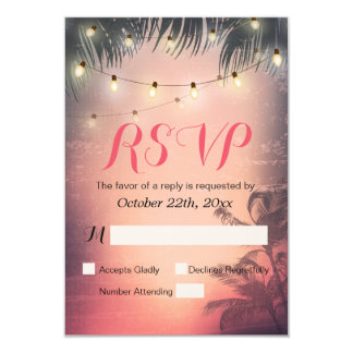 Summer Beach Sunset & String Light RSVP Reply Card