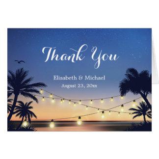 Summer Beach Sunset String Lights Thank You Card