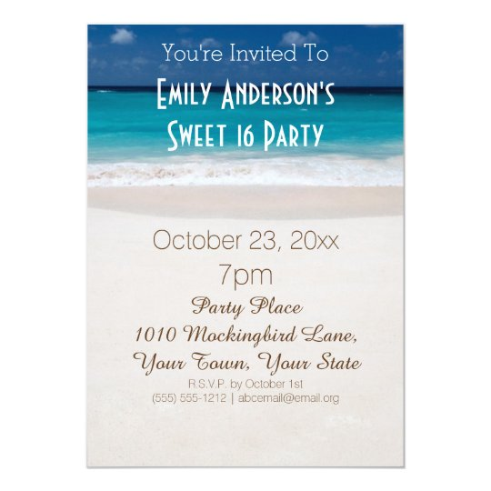 Summer Beach Theme Blue Sweet 16 Birthday Invitation