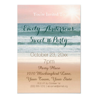 Summer Beach Theme Pink Sunset Sweet 16 Birthday Card
