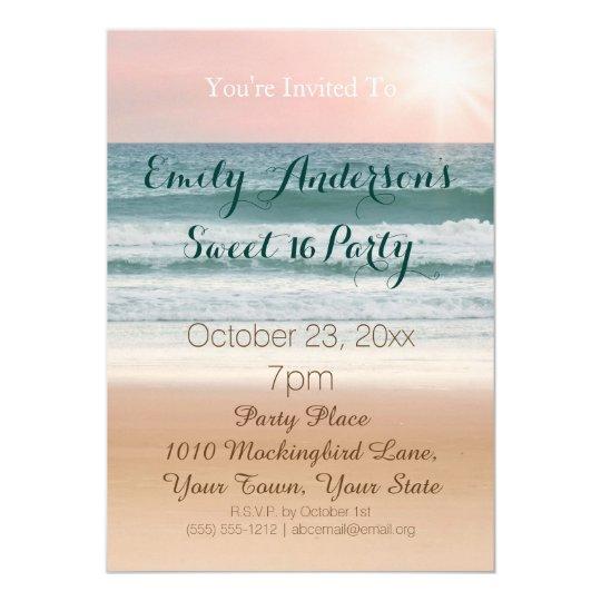 Summer Beach Theme Pink Sunset Sweet 16 Birthday Invitation