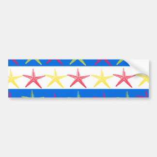 Summer Beach Theme Starfish Blue Striped Pattern Bumper Sticker