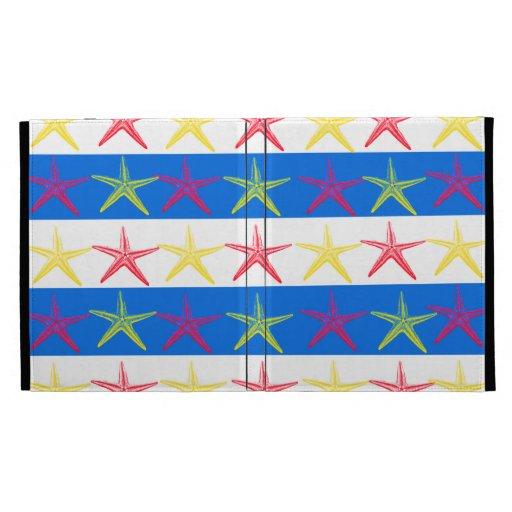 Summer Beach Theme Starfish Blue Striped Pattern iPad Case